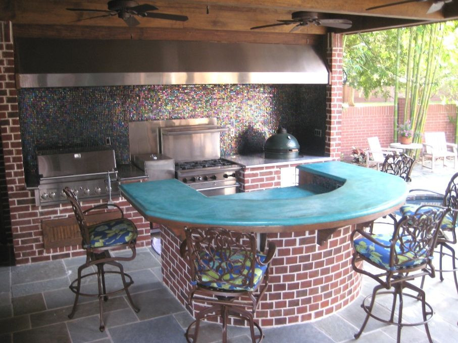 DIY Outdoor Grill Vent Hood  Outdoor kitchen in the Sugar Land Texas area with large