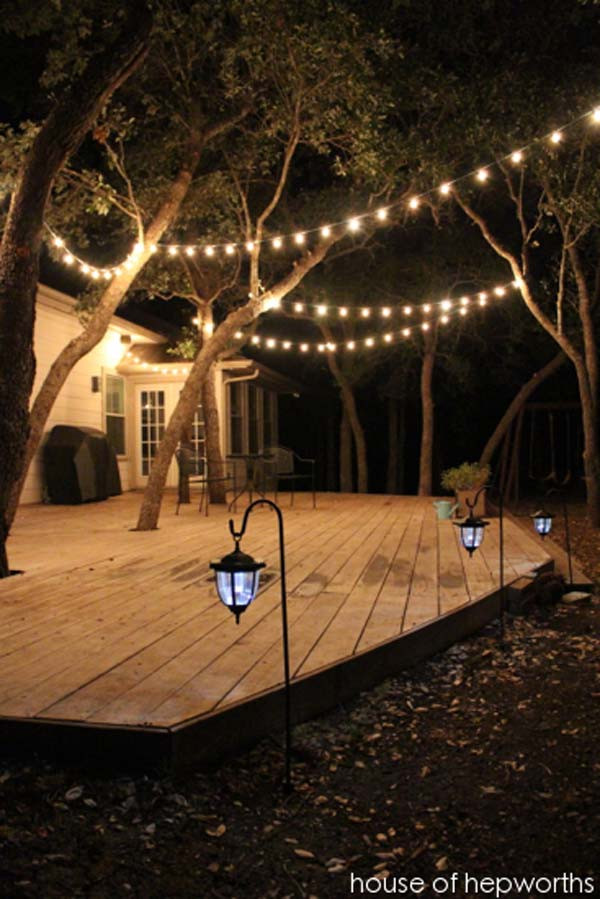 DIY Outdoor String Lights  15 DIY Backyard and Patio Lighting Projects