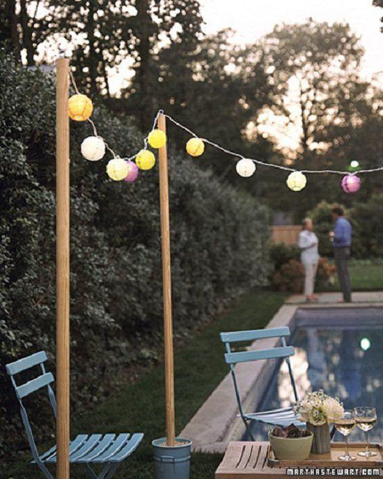 DIY Outdoor String Lights  DIY bucket posts for string lights