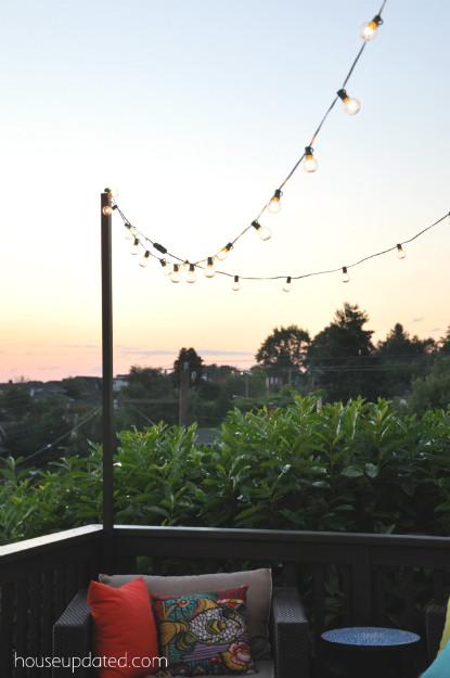 DIY Outdoor String Lights  DIY Posts for Hanging Outdoor String Lights House Updated