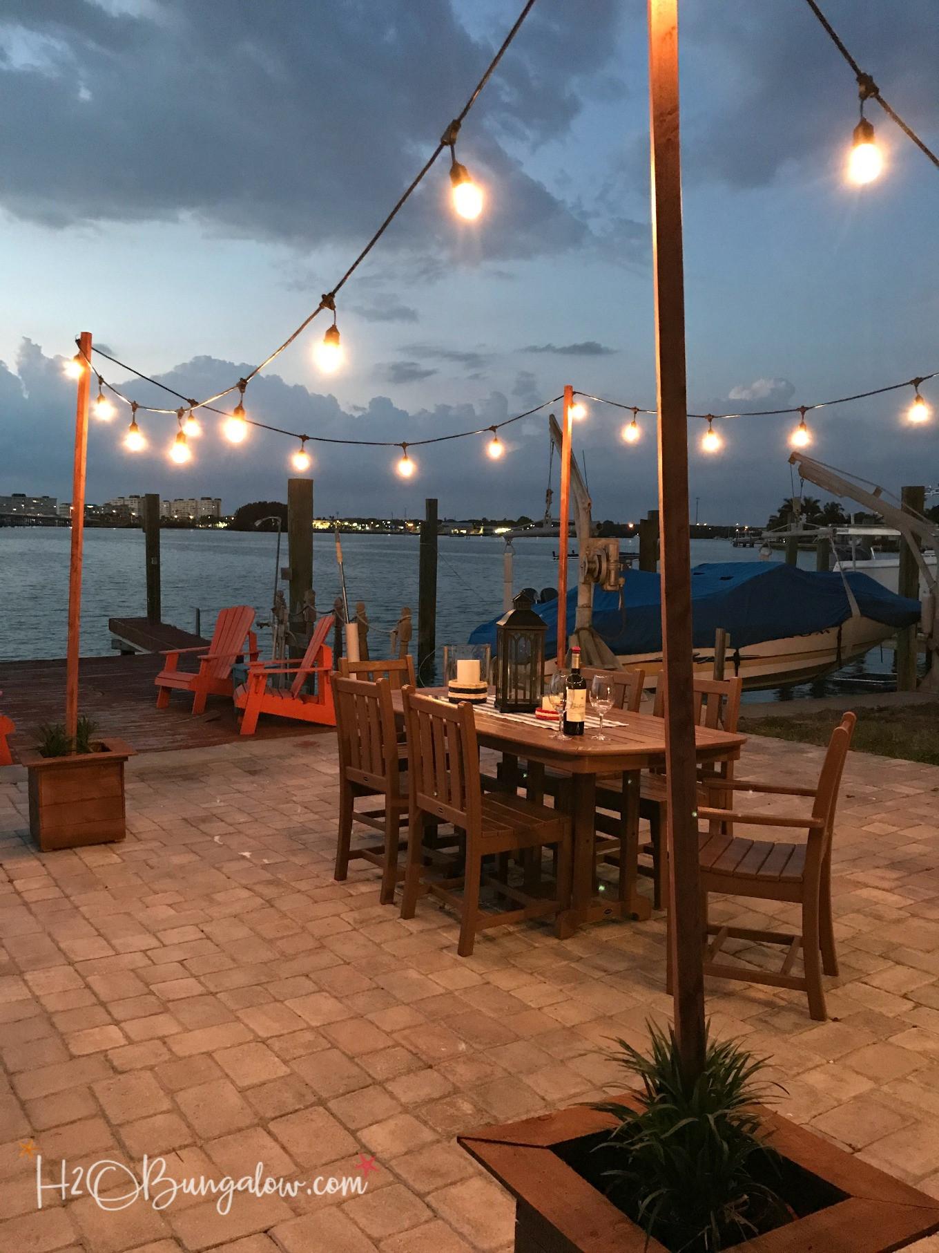 DIY Outdoor String Lights  DIY Outdoor String Lights on Poles H2OBungalow