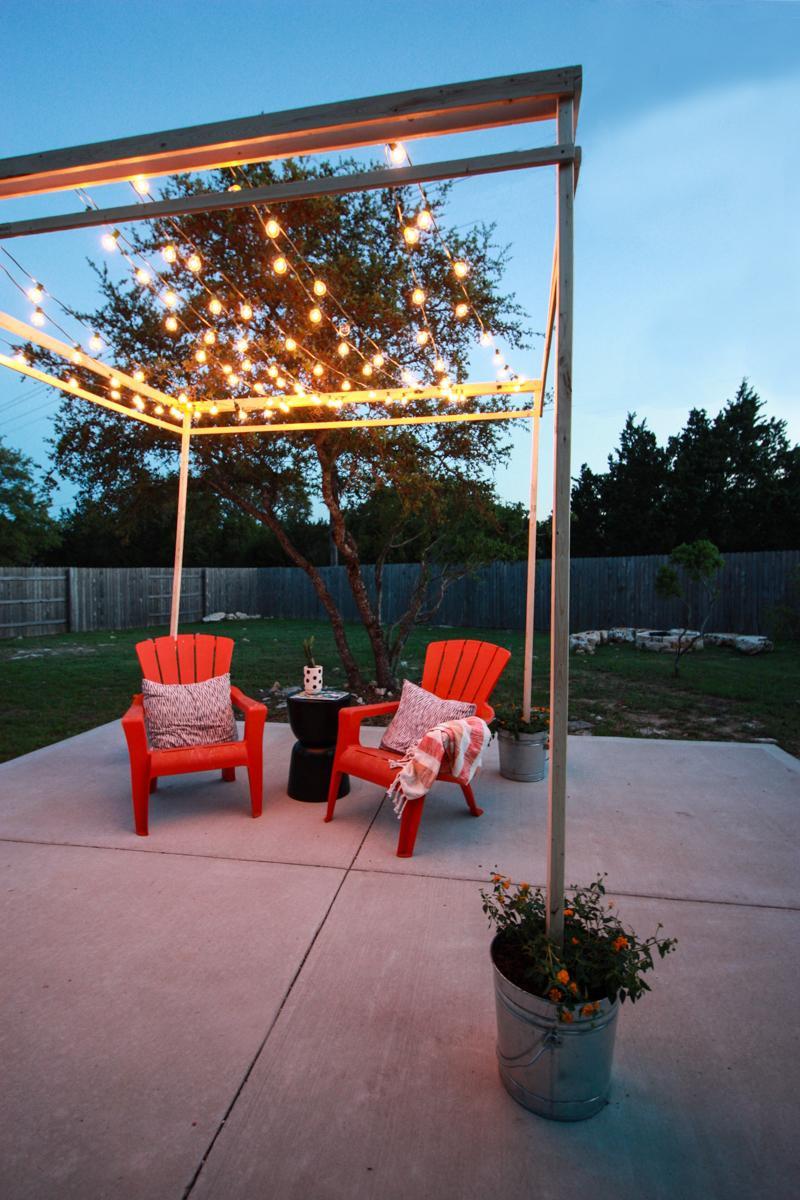 DIY Outdoor String Lights  An Easy Build DIY String Lights Pergola