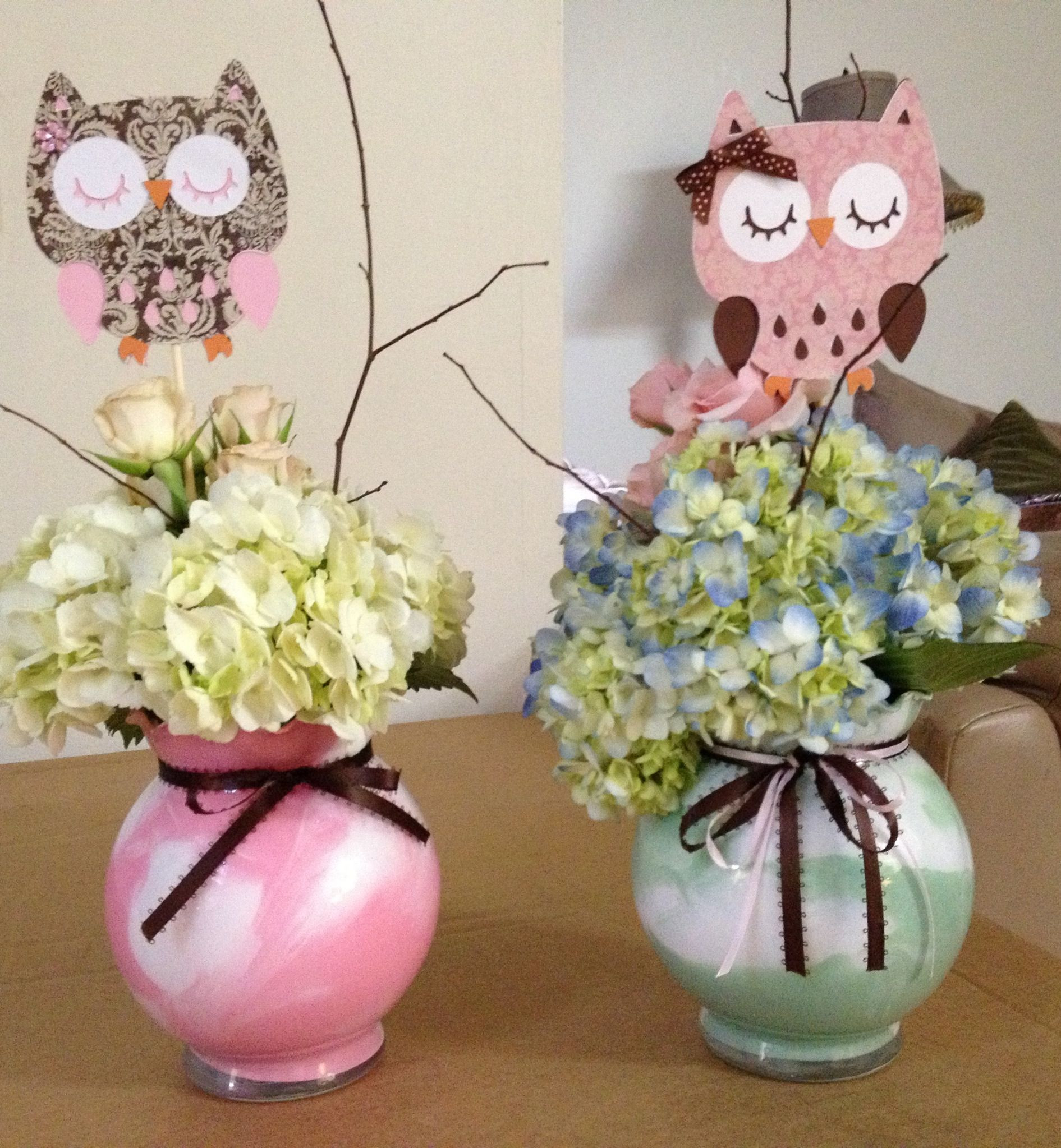 DIY Owl Baby Shower Decorations  My centerpieces I made with chach21 owl babyshower