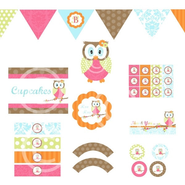DIY Owl Baby Shower Decorations  Woodland Owl Decorations for Birthday Party or Baby Shower