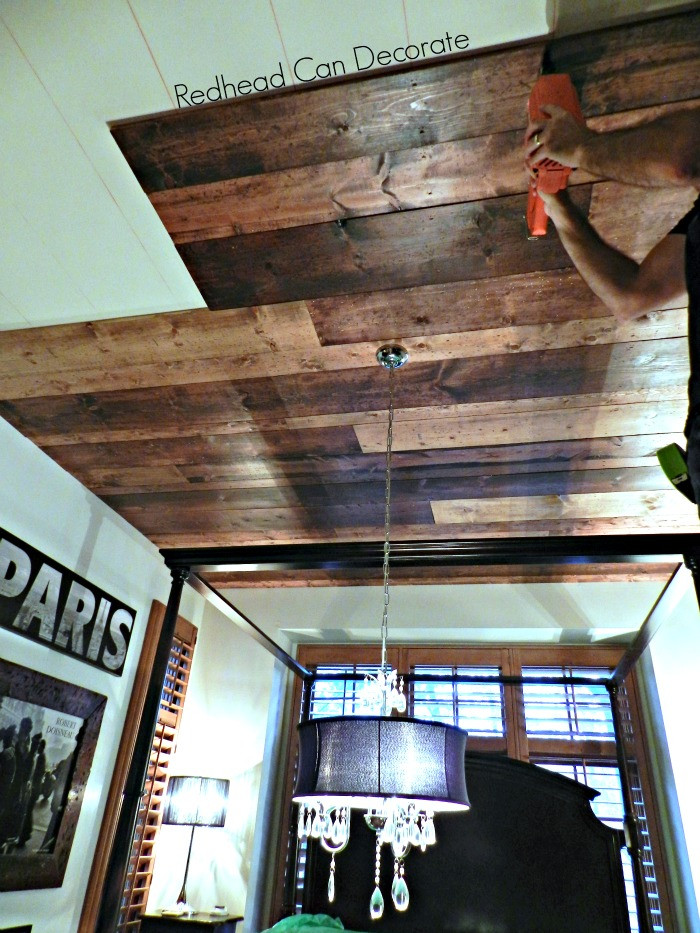 DIY Plank Ceiling  DIY Wood Planked Ceiling Redhead Can Decorate
