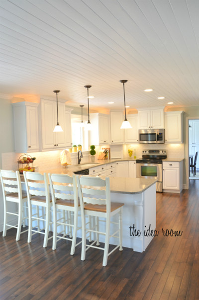 DIY Plank Ceiling  How To Cover A Ceiling With Wood 7 DIYs Shelterness