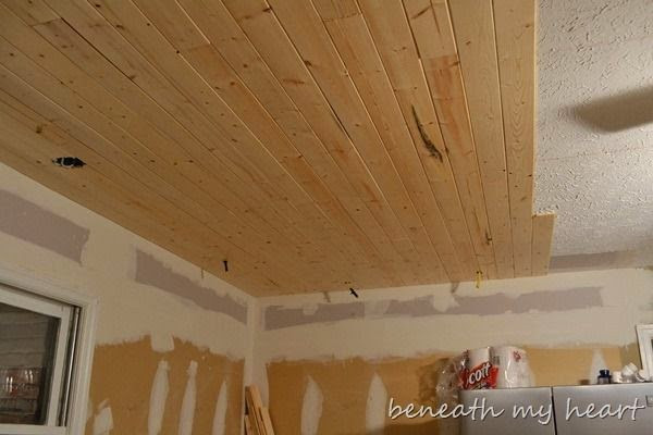 DIY Plank Ceiling  Carri Us Home Painting a Basement Ceiling