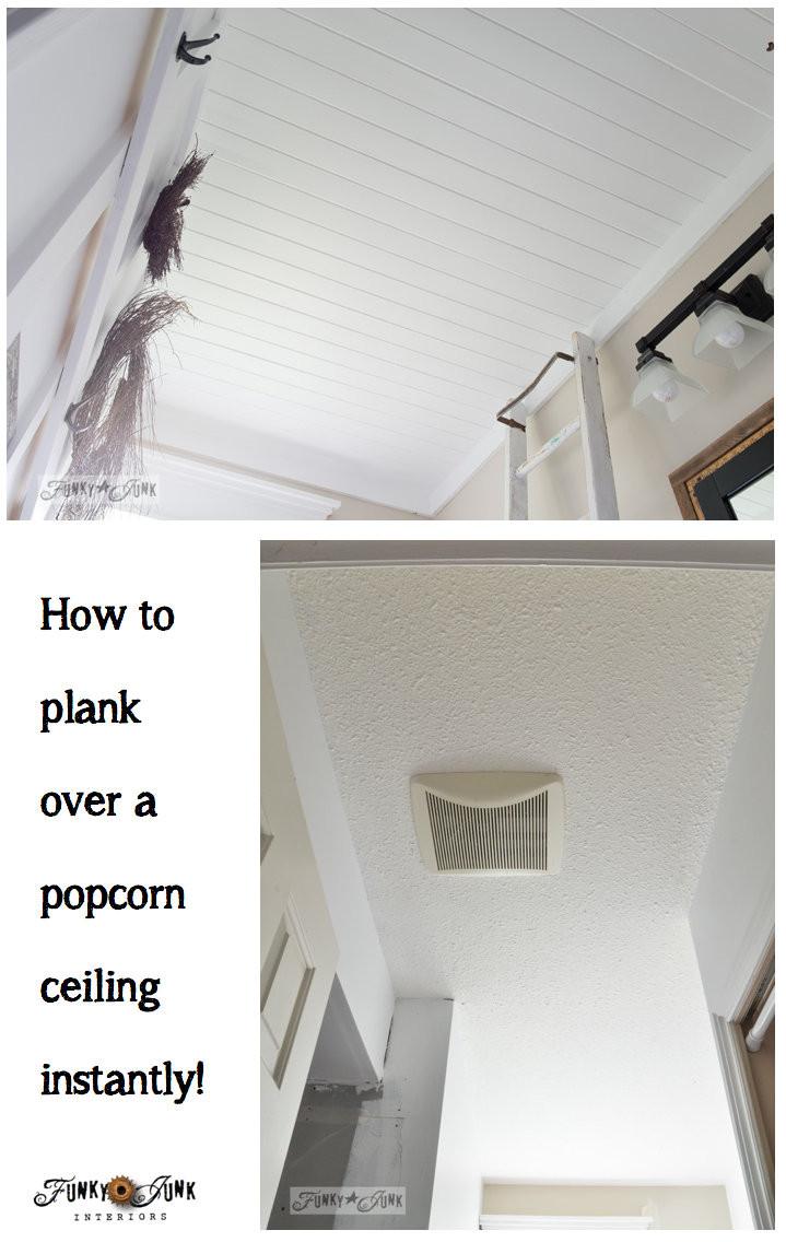 DIY Plank Ceiling  How to plank a bathroom ceilingFunky Junk Interiors