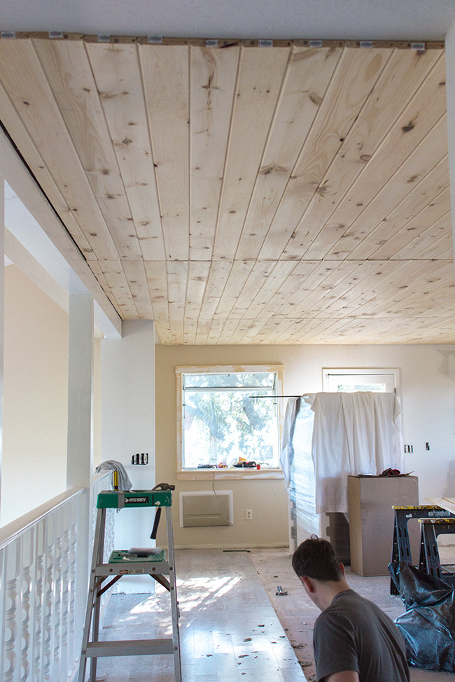 DIY Plank Ceiling  Kitchen Chronicles DIY Tongue and Groove Plank Ceiling
