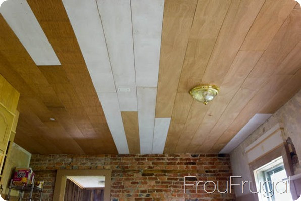 DIY Plank Ceiling  Plank Ceiling Progress frou•fru•gal [froo froo GAL]