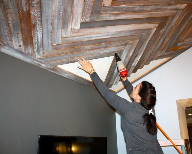 DIY Plank Ceiling  Reclaimed Wood Herringbone Pattern on the Ceiling