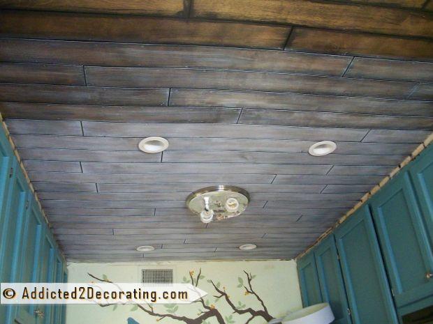 DIY Plank Ceiling  Inexpensive DIY Wood Slat Ceiling Addicted 2 Decorating