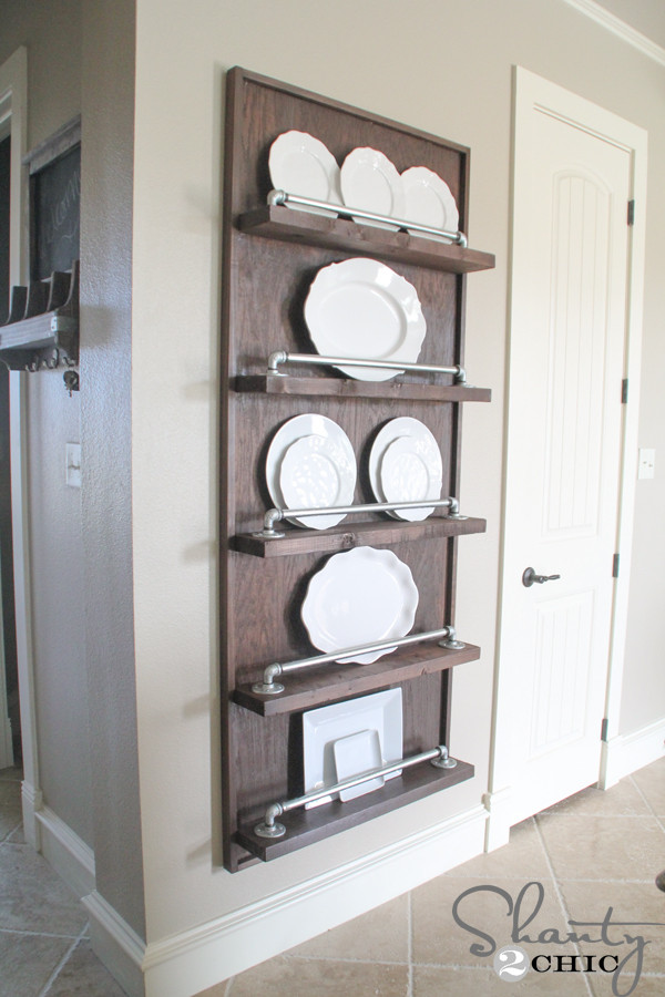 DIY Plate Rack  DIY Industrial Pipe Plate Rack Shanty 2 Chic