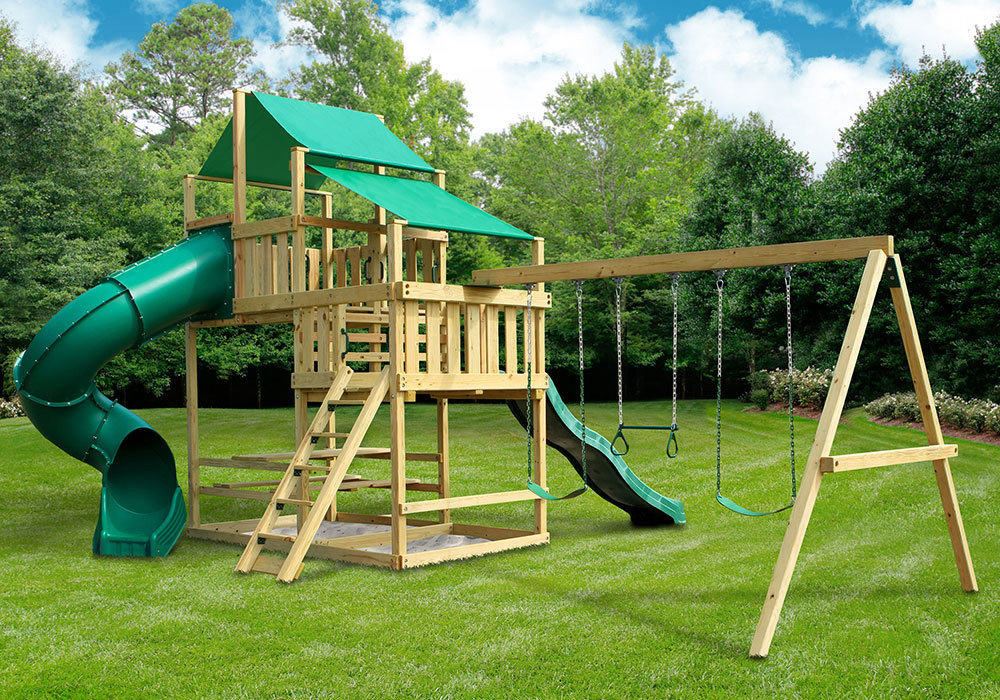 DIY Playset Plans  Frontier Fort with Swing Set DIY Kit SwingSetMall