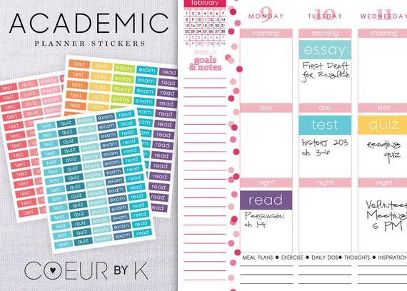 DIY School Planner  Student Planner Academic Stickers DIY Printable PDF by