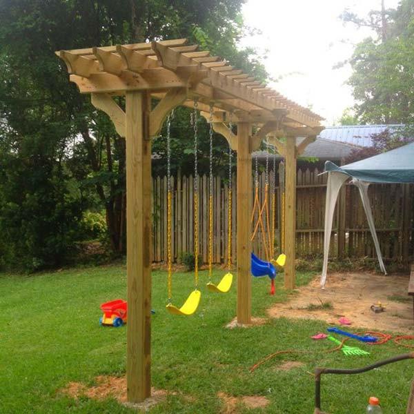 DIY Swing Set Plans  24 Inspiring DIY Backyard Pergola Ideas To Enhance The