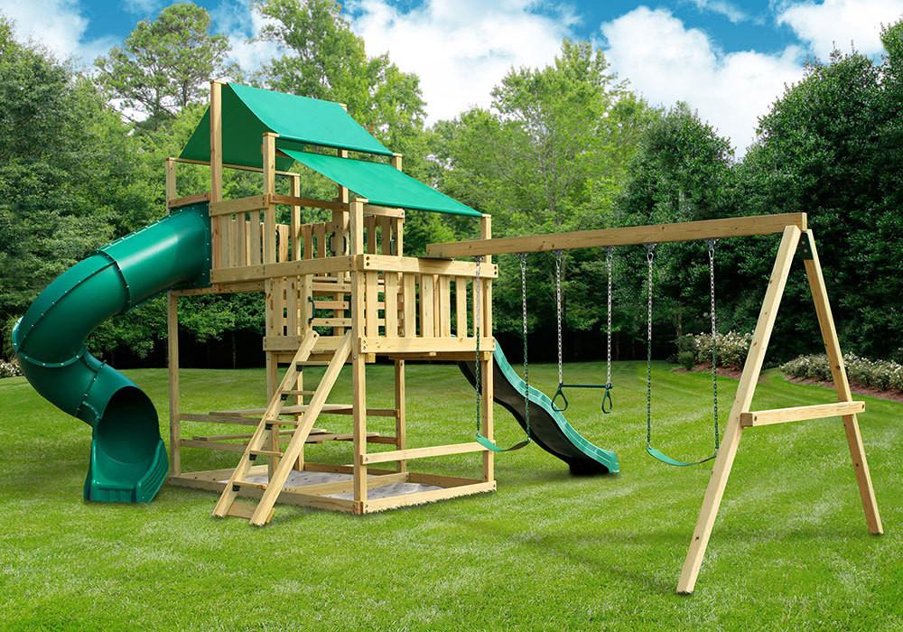 DIY Swing Set Plans  Frontier Fort with Swing Set DIY Kit SwingSetMall