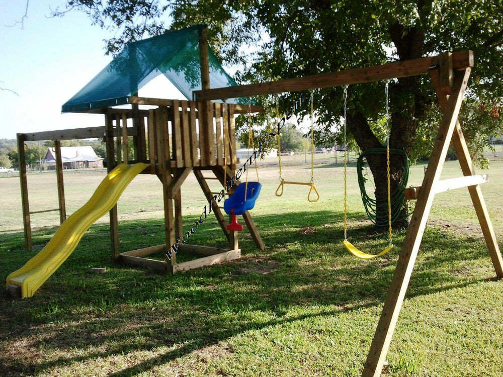 DIY Swing Set Plans  PLAY FORT SWING SET Paper Patterns BUILD WOOD PLAY GROUND