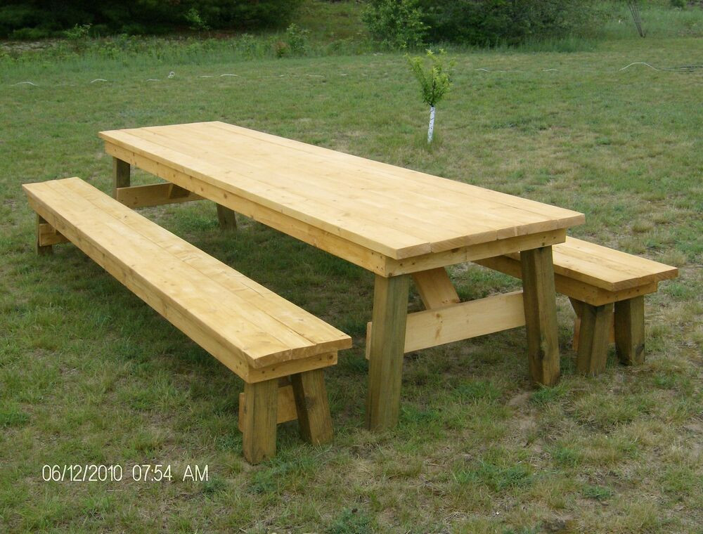 DIY Table Plan  Classic Picnic Table with Separate Benches Plan How to