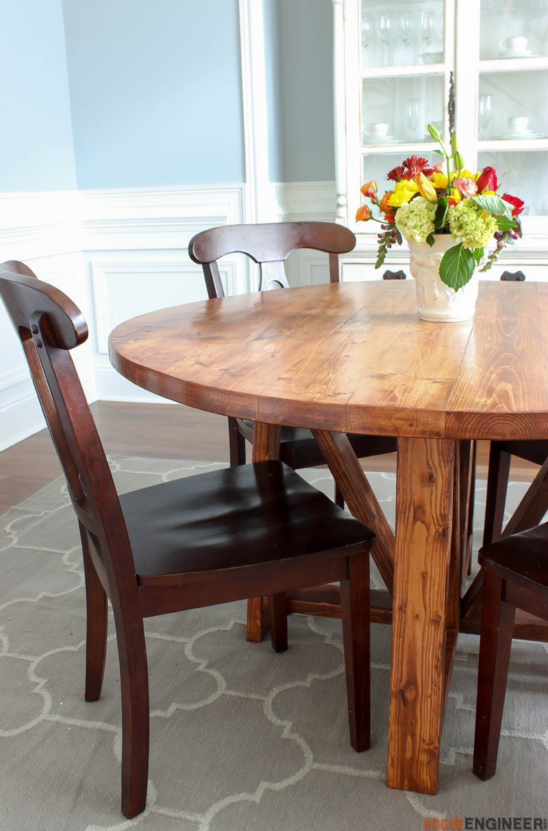 DIY Table Planners  Round Trestle Dining Table Free DIY Plans  Rogue Engineer