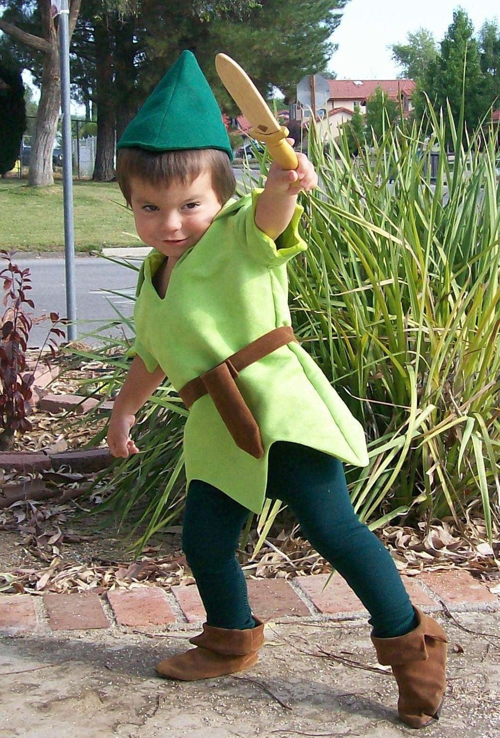 DIY Toddler Peter Pan Costume  Peter Pan Costume Child Size Faux Lime Green Suede Tunic Green