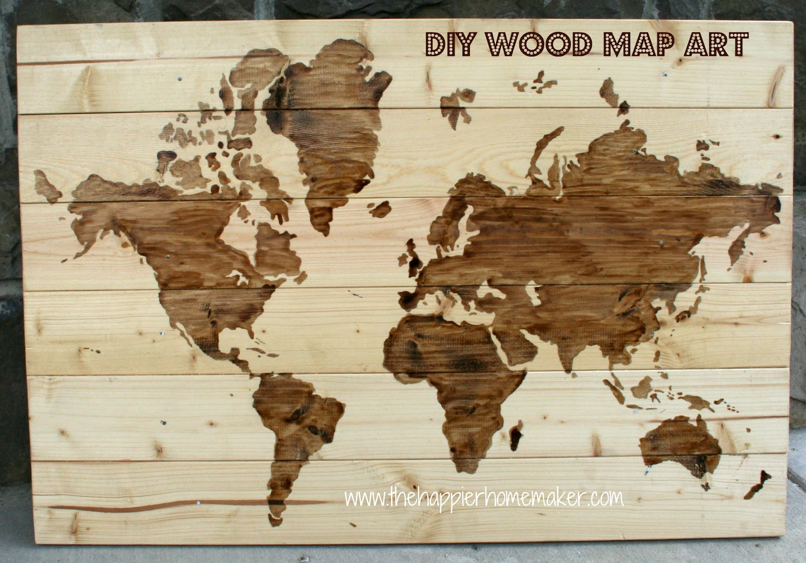 DIY Wood Art Projects  DIY Wooden World Map Art
