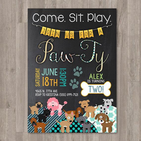Dog Birthday Invitations  Boy Puppy Birthday Invitations Printable Dog Invitations