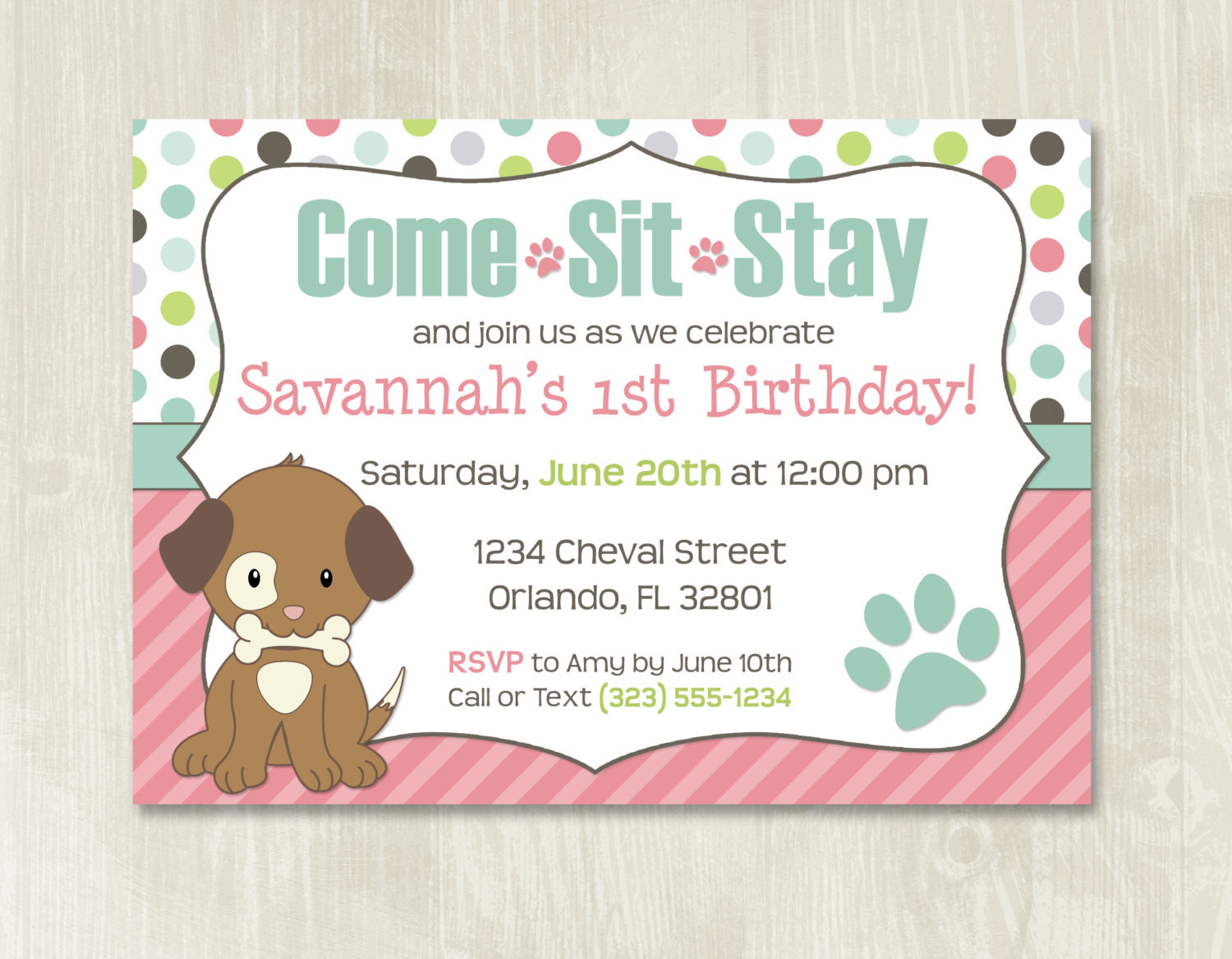 Dog Birthday Invitations  Puppy Birthday Invitation Customizable Puppy Party