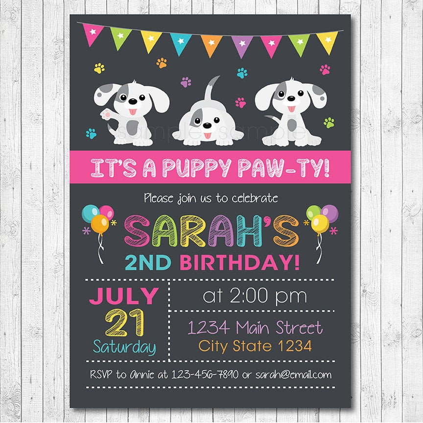 Dog Birthday Invitations  Puppy Birthday Invitation Puppy Invite Puppy Birthday