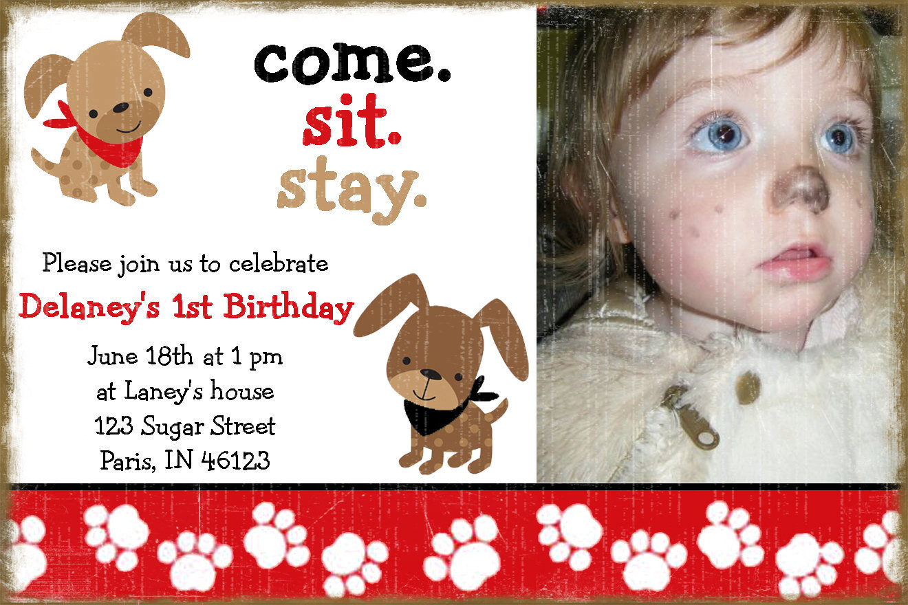 Dog Birthday Invitations  Puppy Dog Birthday Invitation A Birthday Paw ty