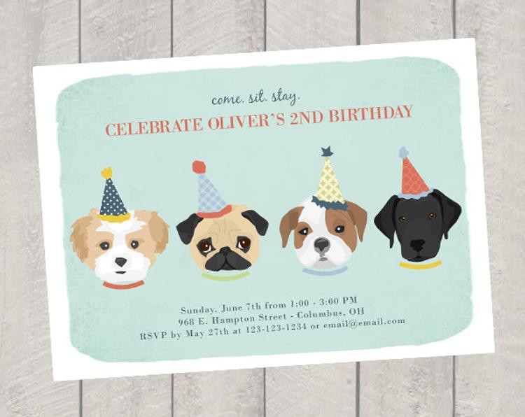 Dog Birthday Invitations  Dog Theme Birthday Invitation Children s by