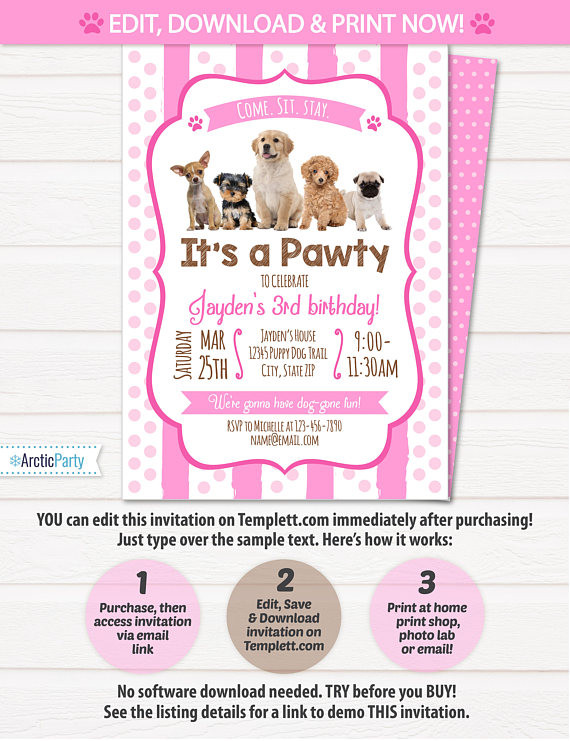Dog Birthday Invitations  Puppy Birthday Invitation Dog Birthday Party Invitations