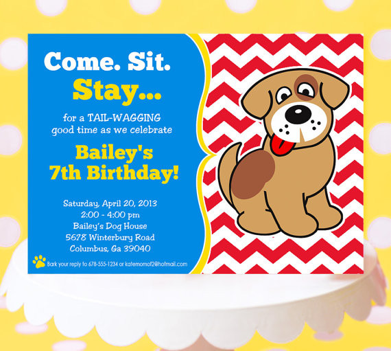 Dog Birthday Invitations  Puppy Party Invitation Puppy Birthday Invitation Printable