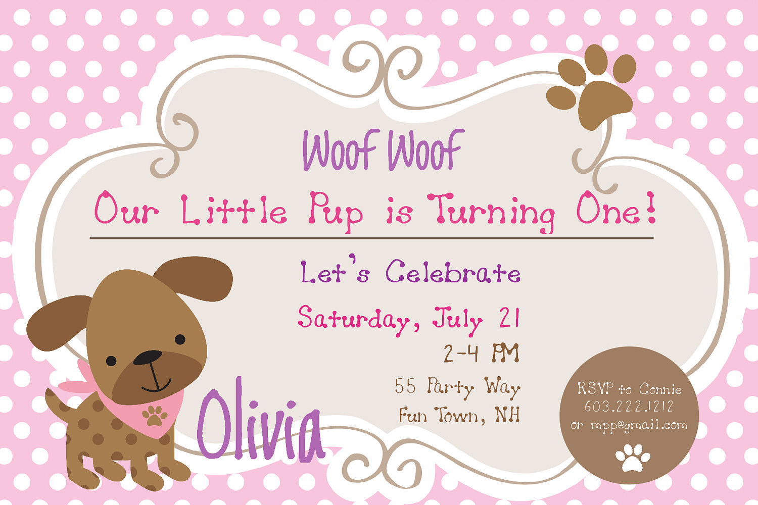 Dog Birthday Invitations  Dog Birthday Party Invitations Puppy Dog Party Invites 1st