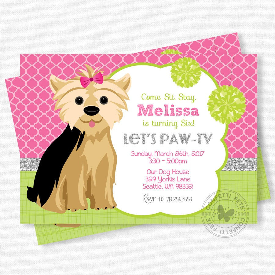 Dog Birthday Invitations  Puppy Party Invitation Dog Birthday Invitation Yorkie