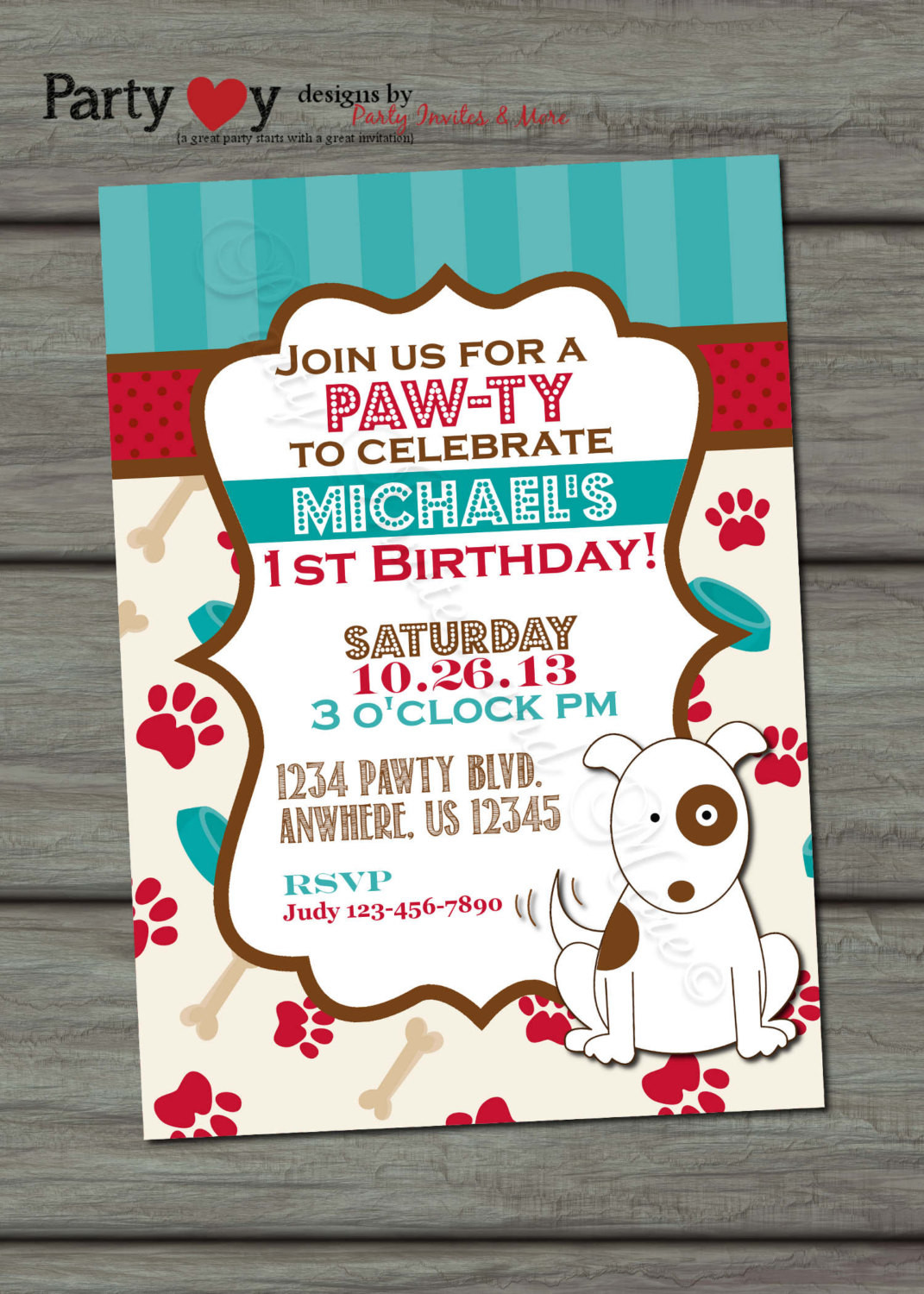 Dog Birthday Invitations  Puppy Birthday Invitation Dog Birthday by PartyInvitesAndMore