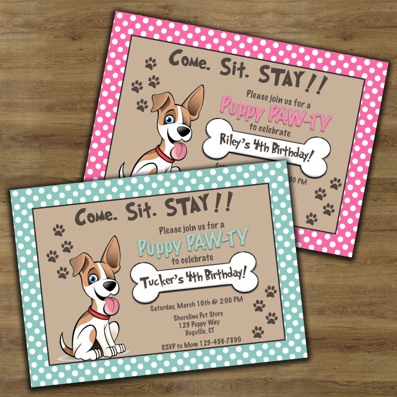 Dog Birthday Invitations  Puppy Birthday Invitation Puppy Party Invitation Puppy