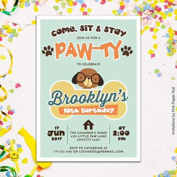 Dog Birthday Invitations  Cute Puppy Dog Birthday Party Invitation Puppy Paw Ty