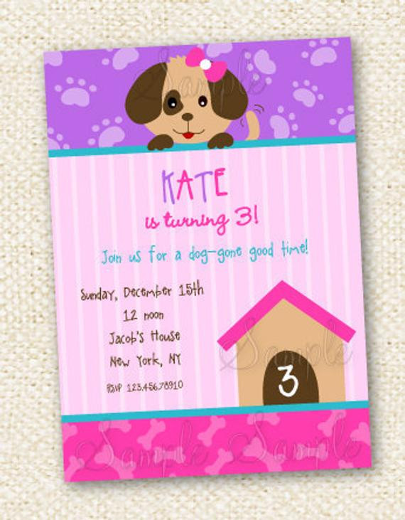 Dog Birthday Invitations  Puppy Dog Birthday Invitations
