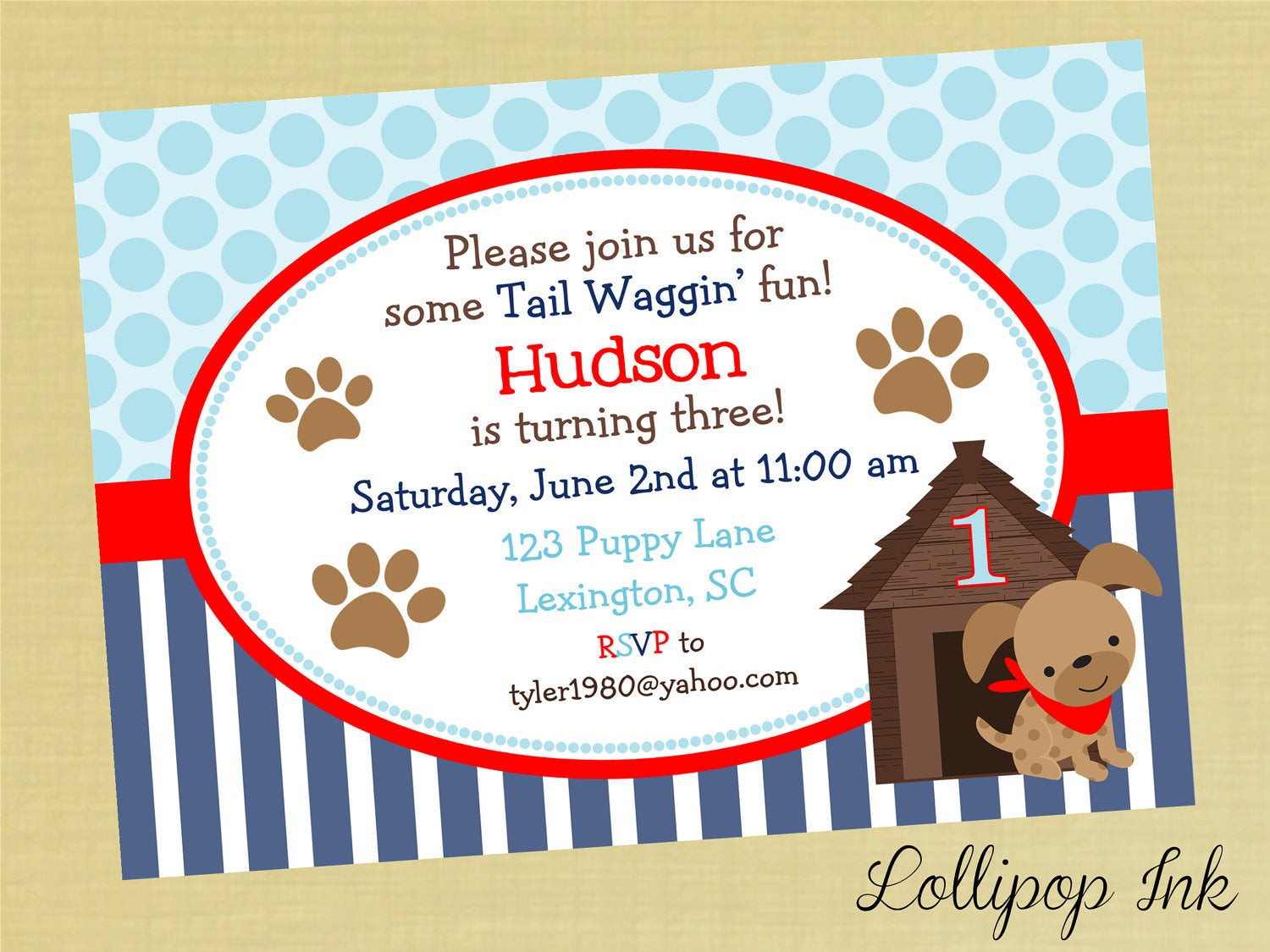 Dog Birthday Invitations  Boy Puppy Printable Invitation Puppy Dog by LollipopInk on