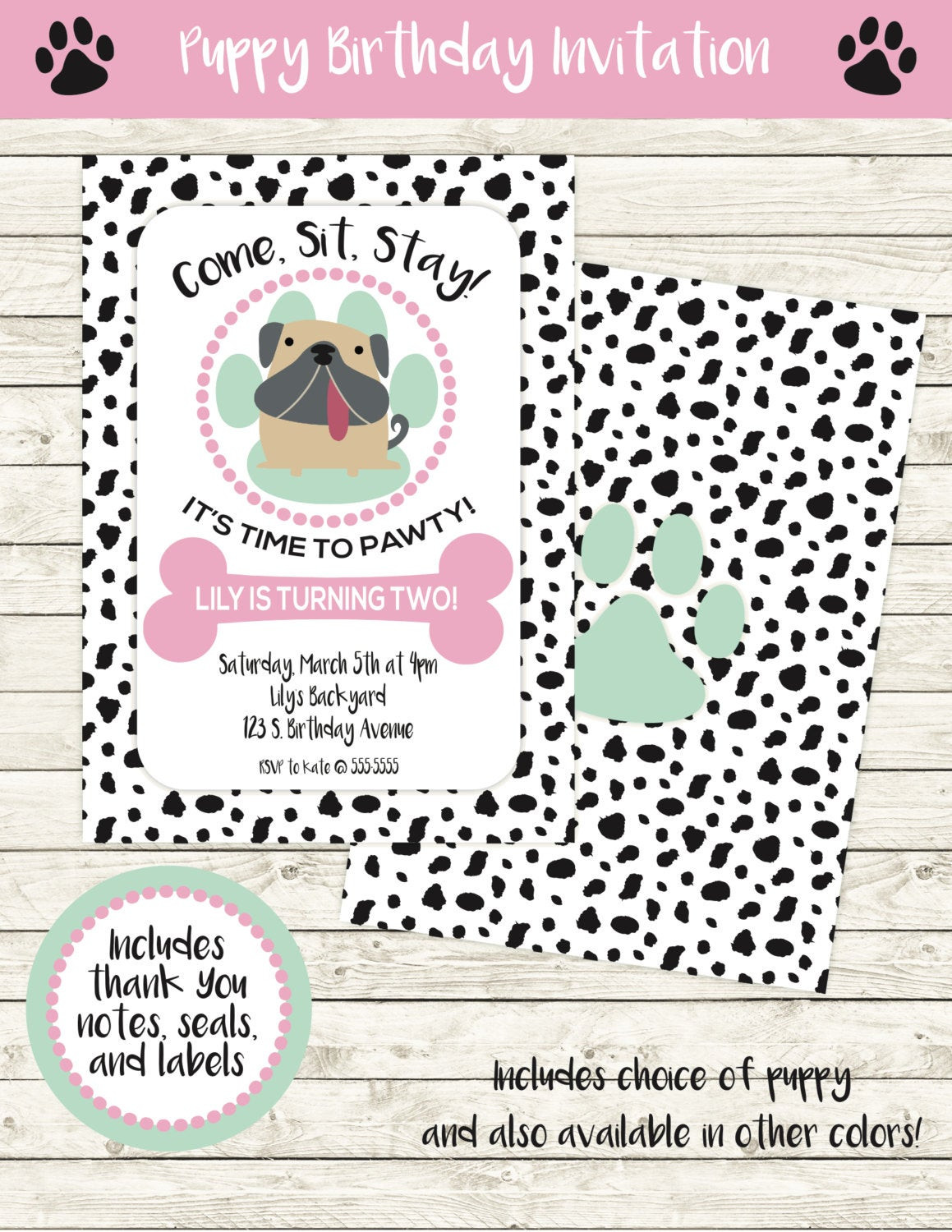 Dog Birthday Invitations  Puppy Party Invitation Dog Birthday Invitation Puppy Girl