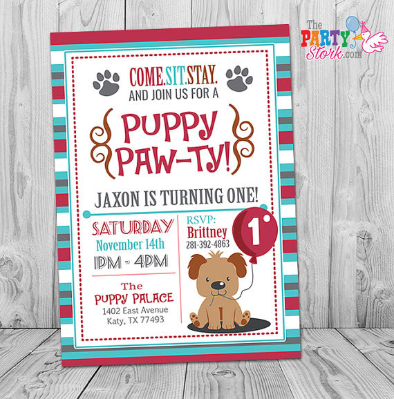 Dog Birthday Invitations  Puppy Invitation Boy Puppy Birthday Invitation Printable