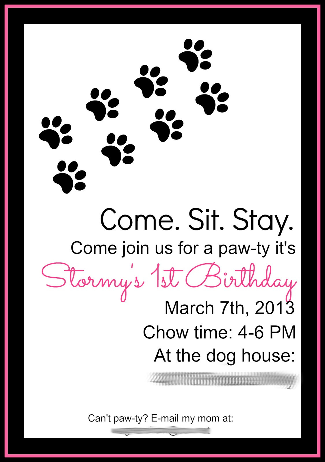 Dog Birthday Invitations  Keeping My Cents ¢¢¢ Dog Birthday