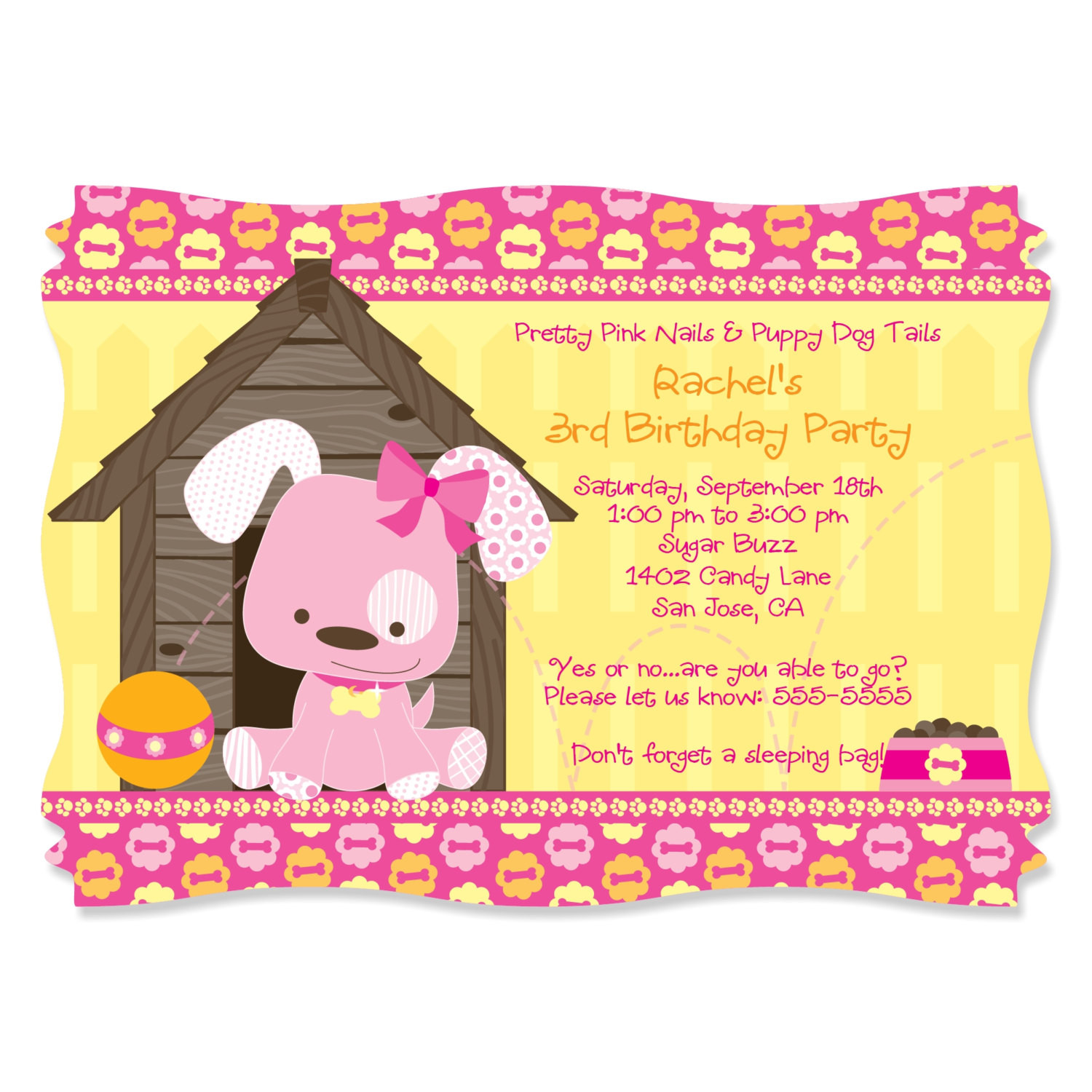 Dog Birthday Invitations  Pink Girl Puppy Dog Party Invitations Printed Birthday Party