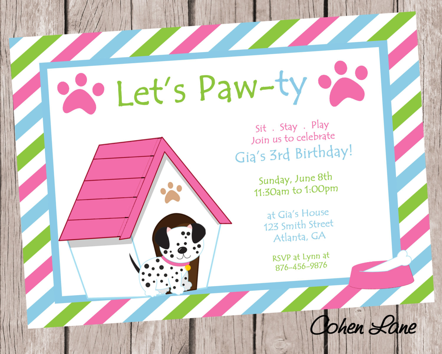 Dog Birthday Invitations  Puppy Birthday Party Invitation Dog Party Invite Puppy