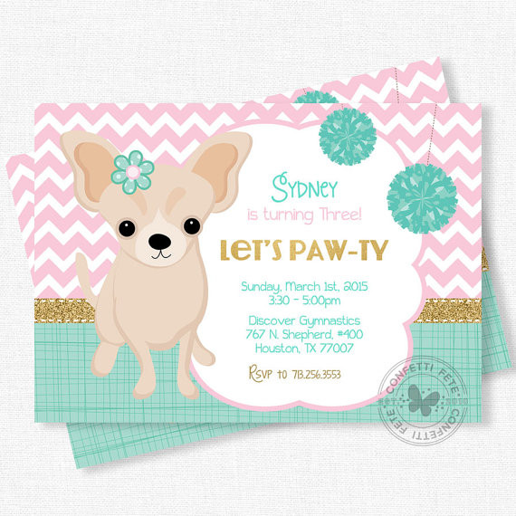 Dog Birthday Invitations  Puppy Party Invitation Dog Birthday Invitation Chihuahua