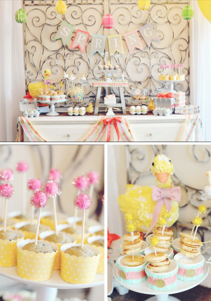 Easter Birthday Party Ideas For Boys  Kara s Party Ideas Little Duckling Duck Easter Spring Girl