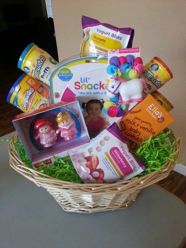 Easter Gift Ideas For Girlfriend  Baby girls first Easter Basket Full of yummy goo s bib