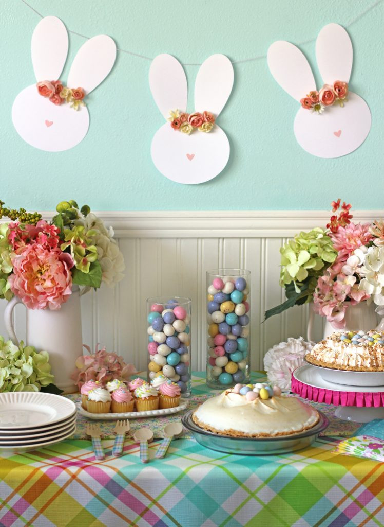 Easter Kid Party Ideas  Easy Easter Table Decor and a Floral Crown Easter Bunny