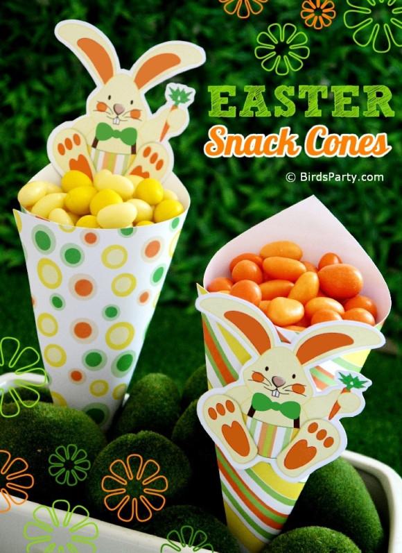Easter Snack Ideas Party  DIY Easter Bunny Snack Cones Tutorial Party Ideas